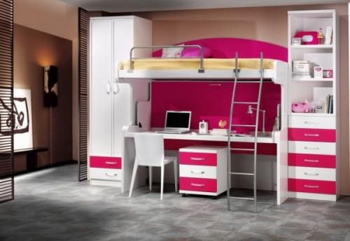 Pink-accented-bunk-bed-with-an-underneath-desk